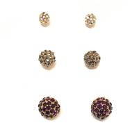 Crystal Ball Earring Set of 3