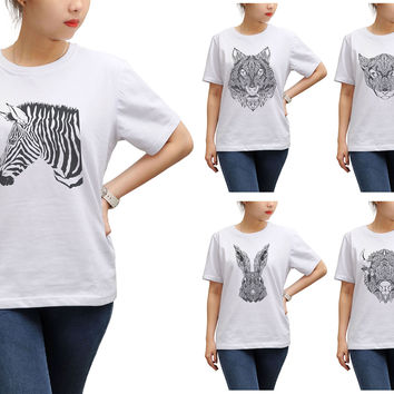Women Animal Pencil Drawings Printed Round Neck Short Sleeves T- Shirt WTS_17