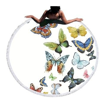 Round Butterfly Print Tapestry (Tassel/Multi colored)