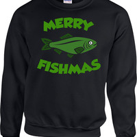 Funny Christmas Gifts For Fisherman Sweater Xmas Gift Ideas For Men Fishing Clothing Holiday Present X-Mas Merry Fishmas Hoodie - SA691