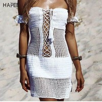 DCCK7N3 Sexy Off Shouder Crochet Beach Cover Up Stylish Tassel Sexy Beach Tunic Women Bikini Cover-ups Beachwear Swimsuit Pareo Cover Up