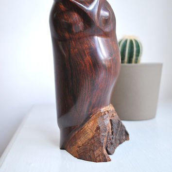 Large Modernist Mid-Century Wood Owl Sculpture