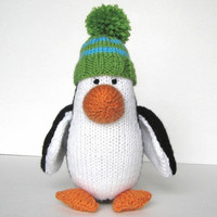 "Hand Knit Penguin Stuffed Animal - Kids Toy Penguin Nursery - Knit Animal Plush Doll Stuffed Toy - Knit Toy Black White Penguin 9 1/2"" Tall"