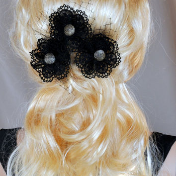 Set of 3 hair pins, Black hair pins, gothic Lolita clip, victorian accessories, bridal black lace flower, wedding pins, black kawaii wedding