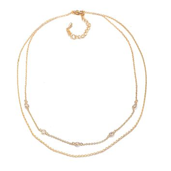 Day-First™ Crystal Accent Double Chain Satellite Choker Necklace