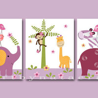 "Art for Children,Kids Wall Art,Baby Girl Room Decor,Nursery print,set of 3 8"" x 10"" Print,elephant,giraffe,monkey,zebra,violet,hippopotamus"