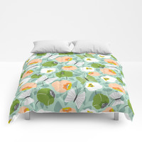 Butterfly Blossom Floral - Sage Green Comforters by Heather Dutton