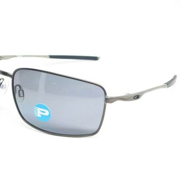 Oakley SQUARE WIRE POLARIZED Sunglasses OO4075-04 Carbon Frame W/ Grey Lens