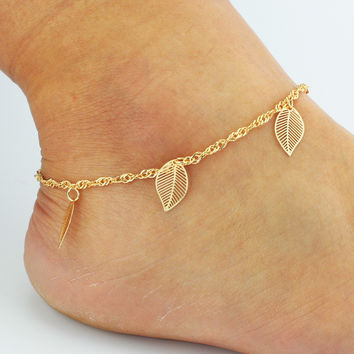 Gift Cute Ladies New Arrival Sexy Shiny Stylish Jewelry Hot Sale Simple Design Leaf Tassels Anklet [6464855873]