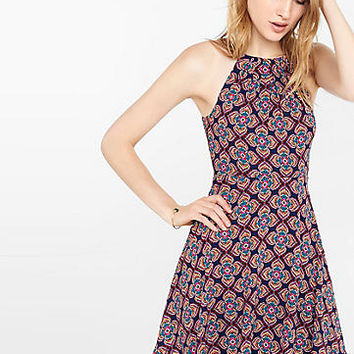 floral diamond print fit and flare halter dress