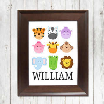 BOY Animal Wall Art Nursery Cute Safari Zoo Jungle Artwork Child Name Custom Personalized Birthday Party Single Print Decor Baby Shower Gift