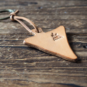 Triangle Leather Keychain #Natural Nude