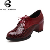 BONJOMARISA Vintage Lace Up Chunky Heel Pumps Women Shoes Round Toe Rubber Sole Platfo