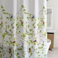 Tree Branch and Bird Printing Shower Curtain Thick Satin Polyester Waterproof Shower Curtain (Size: 180cm by 180cm, Color: Multicolor)