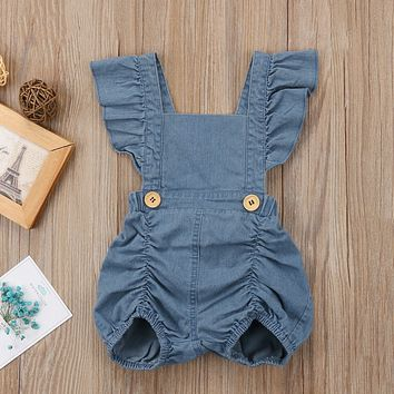 Ruffled Denim Baby Girls Romper with Buttons