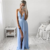 Sexy Women Summer Boho Long Maxi Evening Party Dress Beach Loose Chiffon Floor-length V-neck Sleeveless Dress