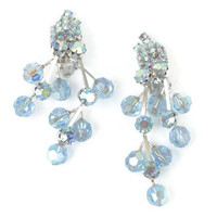Blue Aurora Borealis Crystal Dangle Earrings Rhinestones Chandelier Wedding Something Blue Vintage