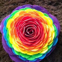 Rainbow Ponytail Flower by feltqueen56 on Etsy