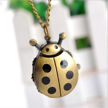 NEW Small Vintage Ladybug Pocket Watch Bronze Necklace woman black dots