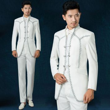 freeshipping 2016new fasion Royal Prince tuxedo male host Choir costumes studio photos theme Embroidery mens wedding suits white