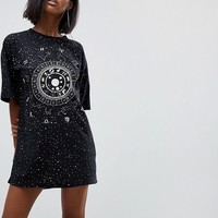 Motel Oversized T-Shirt Dress With Zodiac Print at asos.com