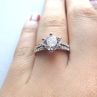 Fancy 1 ct Solitaire Cubic Zirconia Diamond Ring