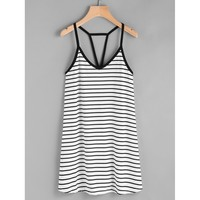 Black And White Polyester Striped Cami