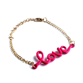 """""""For The LOVE Of Hot Pink"""" Gold Chain Bracelet"""