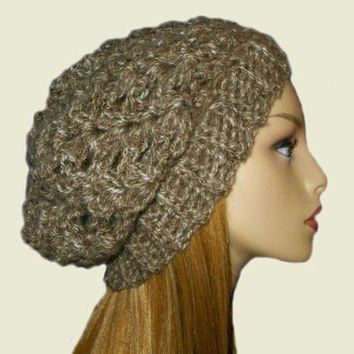 SLOUCHY Hat Beanie Crochet Beany Taupe Knit Slouchie Women Teen Brown & Cream Mix Crochet Hat Gift