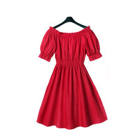 Women's Dress Pleated Off The Shoulder Sexy Party Kawaii Puff Sleeve Dress SM6
