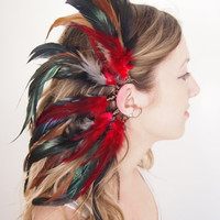 Feather ear cuff, festival goddess accessories, custom color combo MADE TO ORDER