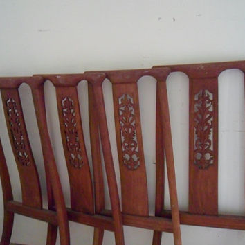 salvage chairs vintage Ricardo Lynn chair backs vintage Republic of China chairs vintage Taiwanese furniture vintage teak wood chair backs