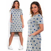 Stylish Star Print Sleeve Plus Size Dress