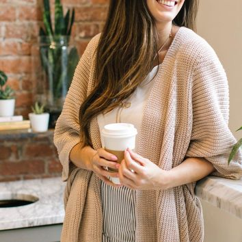 Gabrielle Blush Metallic Knit Cardigan