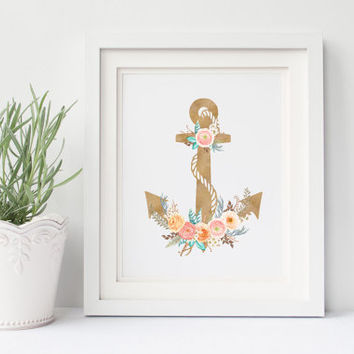 Nautical Anchor Printable Art Print |  Instant Download Digital | Shabby Chic Wall Decor | Nursery Prints | 8x10 Floral Watercolor Artwork