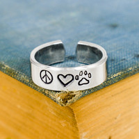 Peace Love and Pets - Animal Rescue - Pets - Adjustable Aluminum Ring