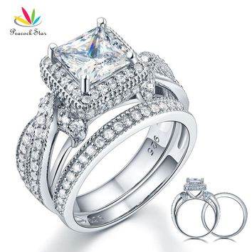 Peacock Star Solid 925 Sterling Silver Wedding Anniversary Engagement Ring Set Vintage Style Princess CFR8234
