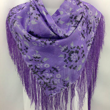 Birthday gift for Mom, Purple Silk Square Fringe shawl, Gift for Sister, Purple Floral Shawl Scarf, Fashion Fancy Piano scarf, Holiday gift