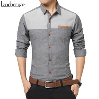 2016 New Fashion Casual Men Shirt Long Sleeve Patchwork Slim Fit Shirt Men High Quality Cotton Mens Dress Shirts Men Clothes