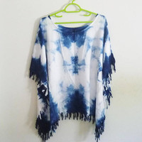 Plus size t shirt women tassel shirt/ wide neck shirt/ rayon white indigo tie dye tshirt /plus size tee chest 48 inch blouse
