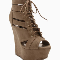 Knockout Cutout Peep Toe Lace Up Wedge
