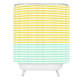 Allyson Johnson Mint And Chartreuse Stripes Shower Curtain