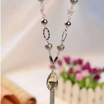 Entrancing Luxury Star Crystal Pendant flower Tassel Long Chain Necklace for Women by Ritzy