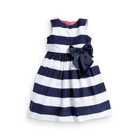 Baby Kid Girls One Piece Dress Blue White Striped Bow  Tutu Dress 1-5Y