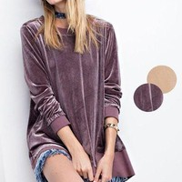 Easel long sleeve velvet pullover with ribbed hem