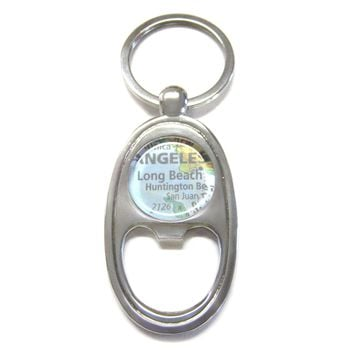 Long Beach California Map Bottle Opener Key Chain