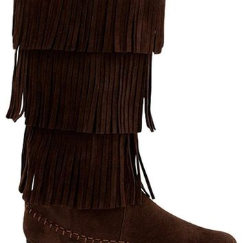 Girls Tall Fringe Boots-Brown