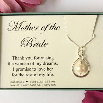 Mother of the Bride gift thank you for raising the woman of my dreams silver necklace wedding party gift from Groom for bride's mom