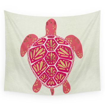 Society6 Sea Turtle - Pink & Gold Wall Tapestry