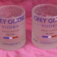 2 - Grey Goose Rocks Glasses - Recycled Glass